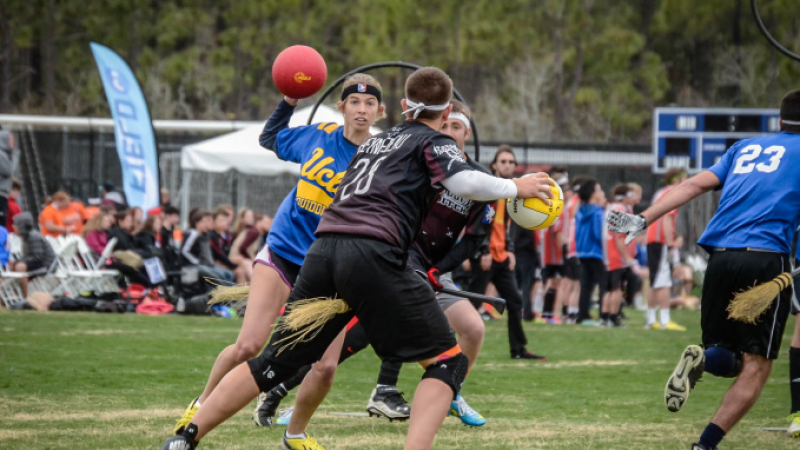 Action from a game of quidditch based on the sport from JK Rowling's Harry Potter novels