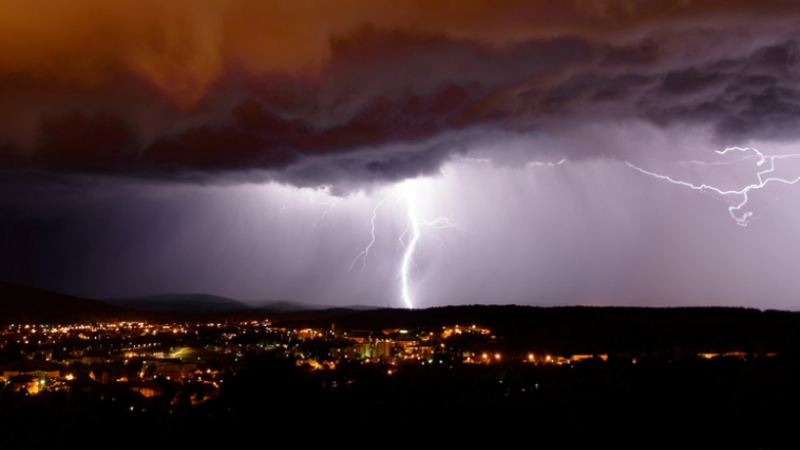 Lightning from a storm over France