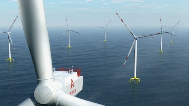 View from above and behind wind turbine in offshore wind farm