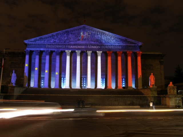French National Assembly frontage blue white red