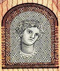 portrait of Greek goddess on banknote