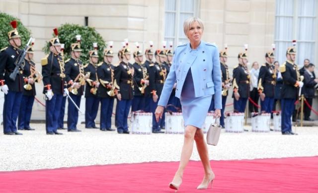 Brigitte Macron entering Elysee at Presidential installation