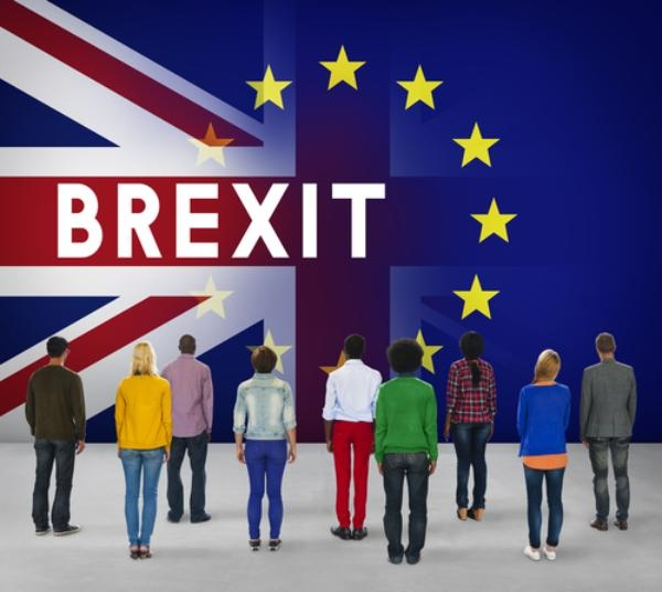 Brexit and European flag graphic with people standing in front