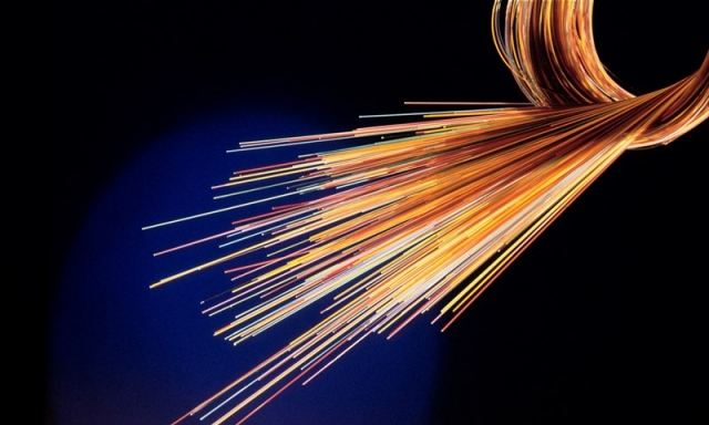 Bundle of fibre optic cables, coloured orange