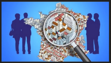 map of France with people and magnifying glass