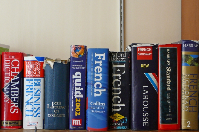 bookshelp line-up of French-English dictionaries