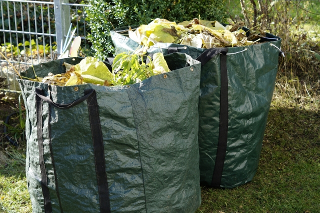 Green bags of green garden waste