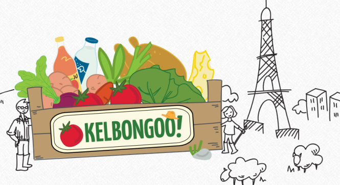 Sketch of box of fruit and veg with sheep and Eiffel Tower