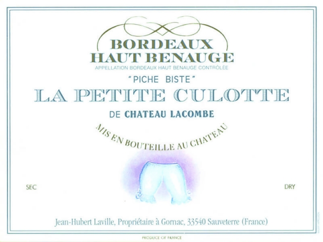 Bordeaux Haut Benauge wine label with pair of knickers on it