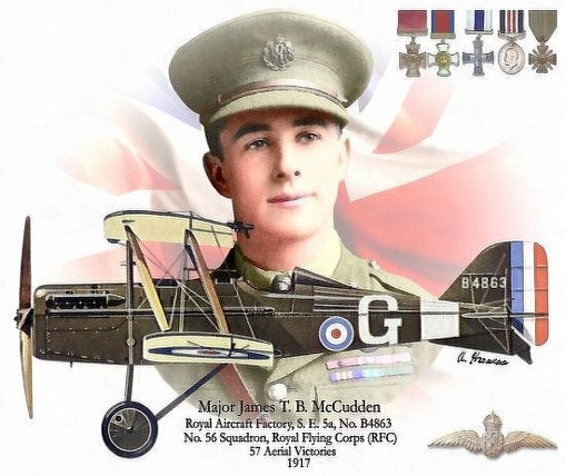 Drawing of SE5a plane with pilot in background plus medals