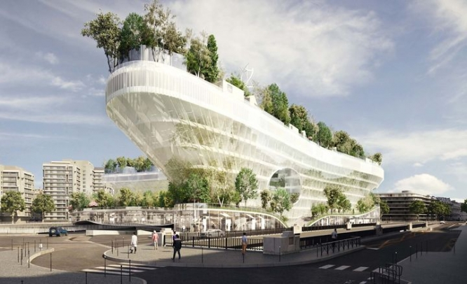 Futuruistic housing project with trees on roof