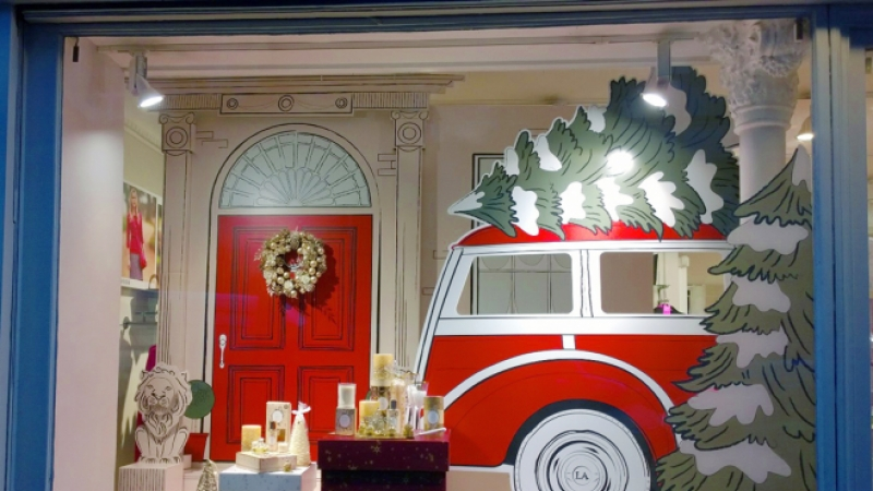 Morgane Cordillot window dressing at Laura Ashley
