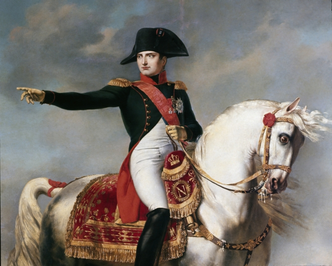 Napoleon on horseback, with his famous bicorne felt hat