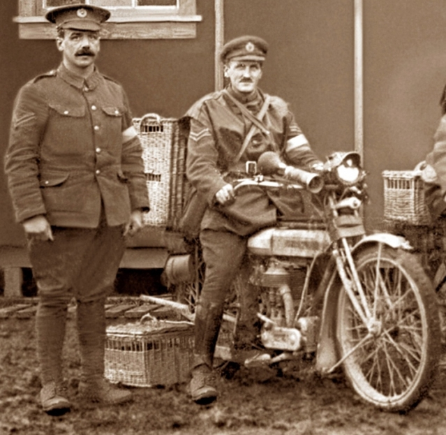 Sepia image of army motorcyclist and soldier with pigeon hampers
