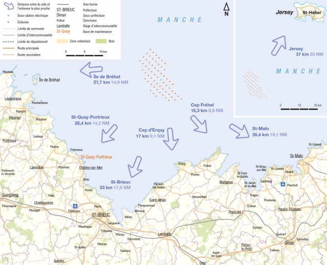 Map of northern French coast with site marked