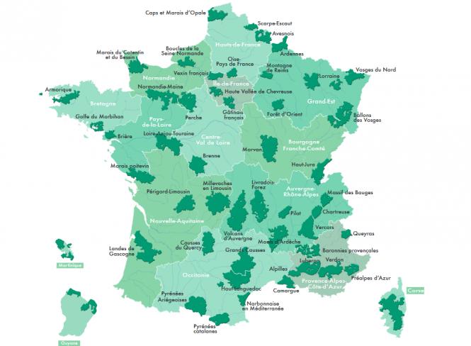 Map of the Parcs Naturels Régionaux in France