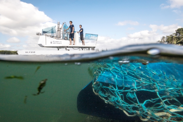 Plastic Odysee at sea with net