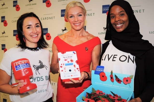 Tree women with collecting can and poppies