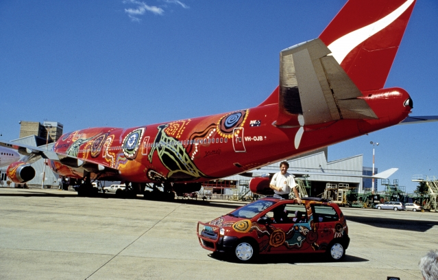 Jean Dulon with his Renault Twingo, which has been decorated in indigenous Australian art