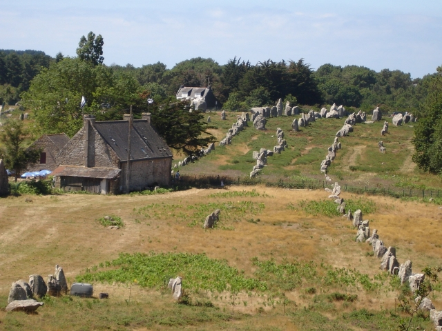 Lines of prehistoric standing stones at Carnac