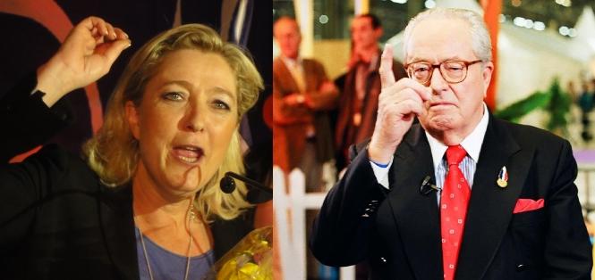 Composite image of Marine Le Pen and Jean-Marie Le Pen