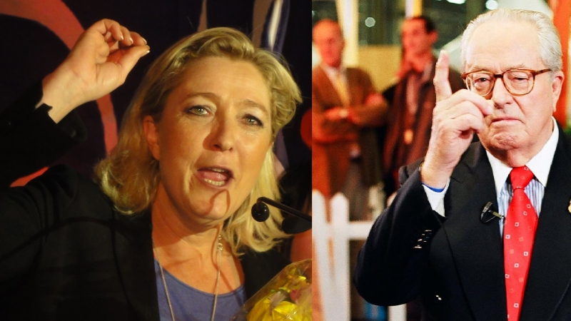 Composite image of Marine Le Pen and Jean-Marie Le Pen