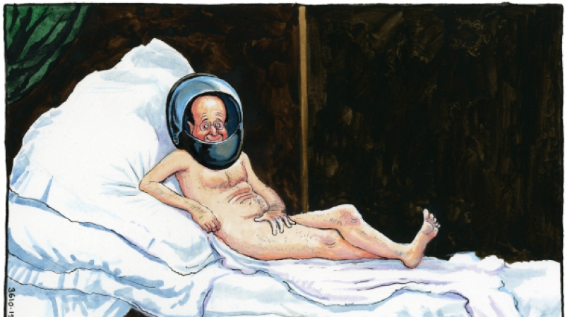 Cartoon of former French President Francois Hollande naked in bed except for a motorcycle helmet