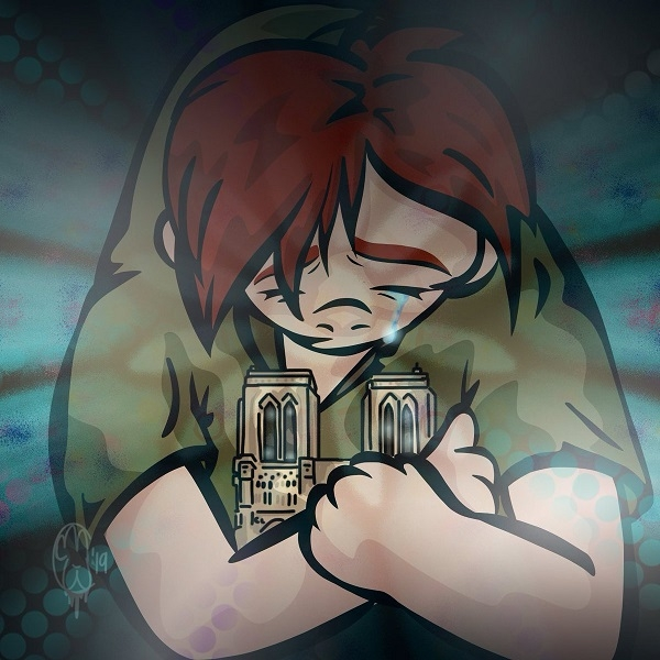 Cartoon representing Quasimodo holding the cathedral Notre-Dame while crying