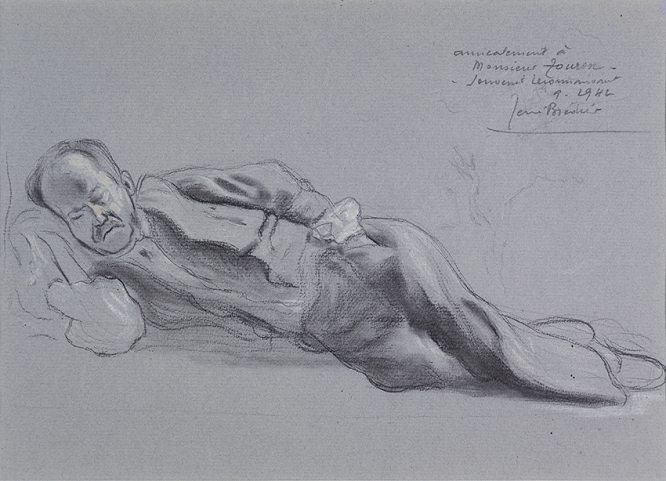 charcoal drawing of old man sleeping