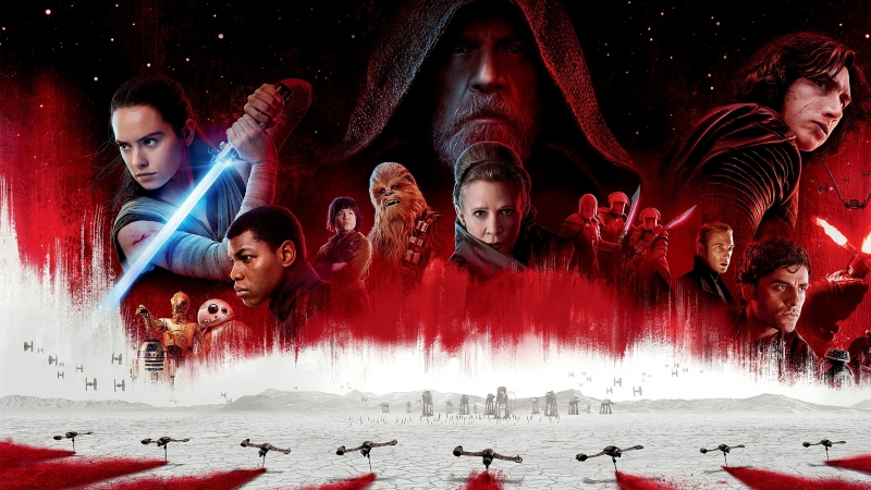 Star Wars characters in film illustration on red background