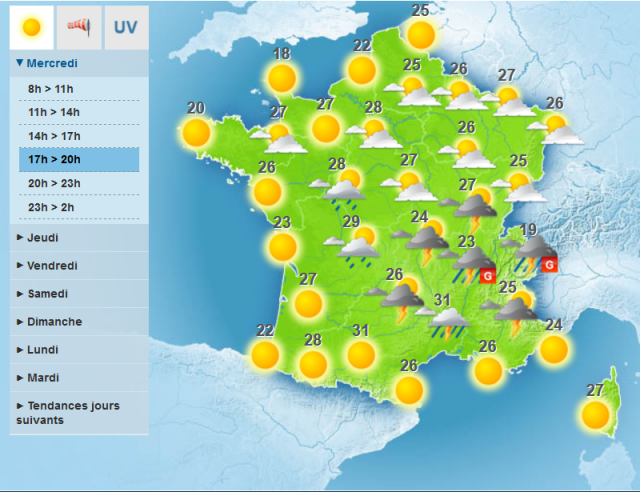 weather map of France with lots of suns and storms