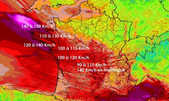 Violent red colouring on wind speed map for storm Zeus in France