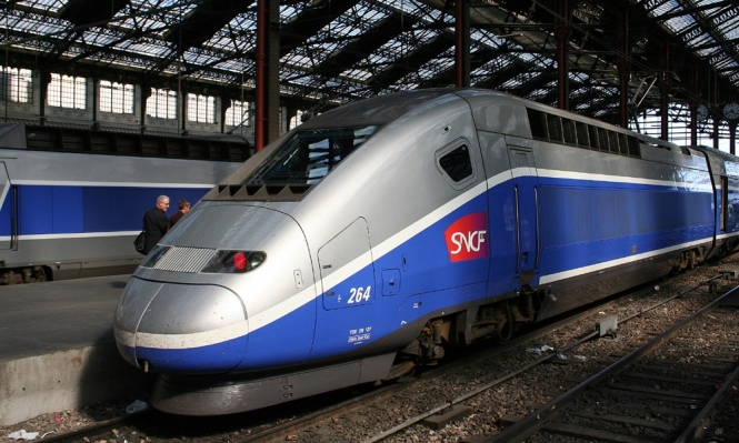 TGV train from three-quarter front left