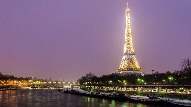Paris by night in winter