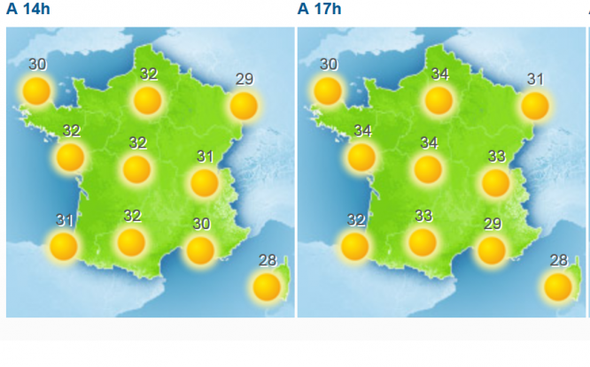Green maps of France with suns