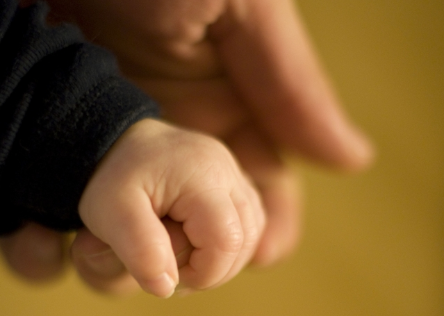 a baby's hand gripping the finger of an adult