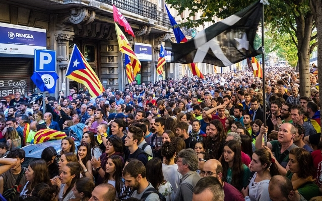 Protesters during a march supporting a vote for Catalan independence
