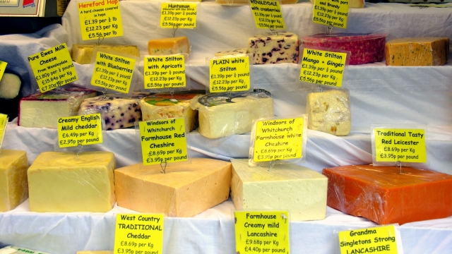 British cheeses on display