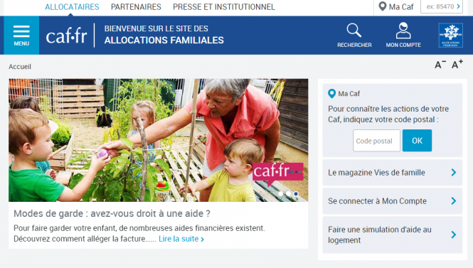 The front page Caisse d'allocations familiales website on October 10, 2017