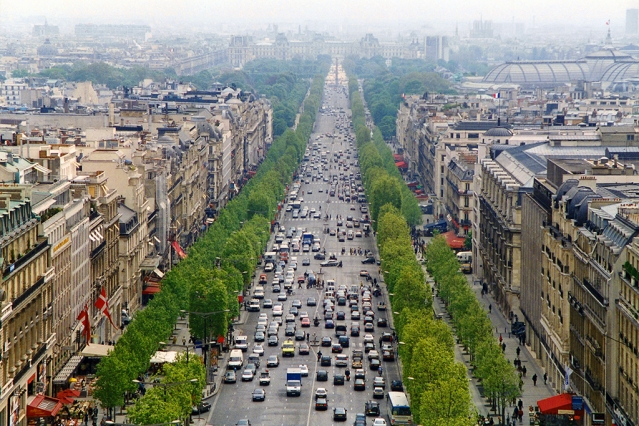 Cars on the Champs Elysee in Paris