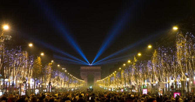 Crowds along the Champs Elysee on New Year's Eve night