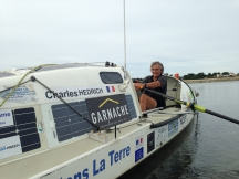 Charles Hedrich at the oars of his rowing boat at Oléron during Tour de France trip 2016