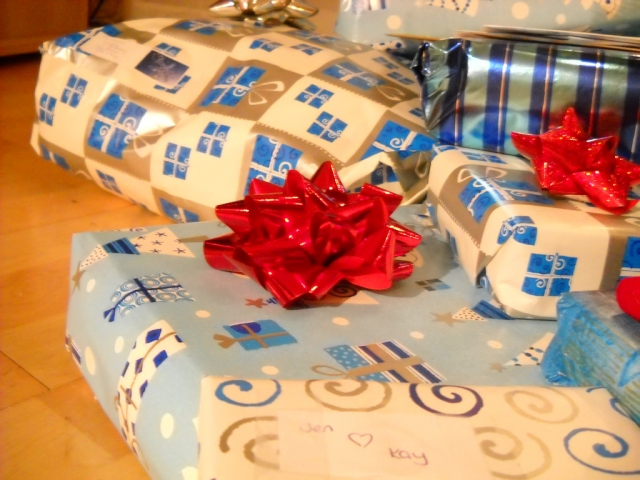 General shot of wrapped Christmas gifts