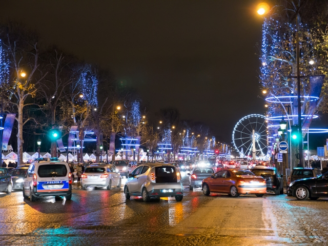 View of the Christmas illuminations looking down the Champs-Elysees in Paris