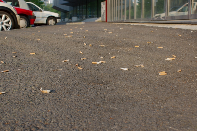 cigarette ends littering the street