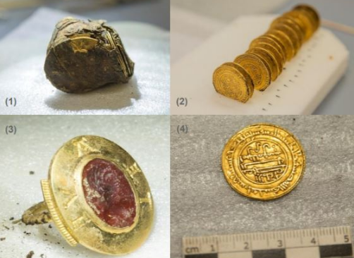 four images of treasure, including coins and a ring, that were found at Cluny Abbey