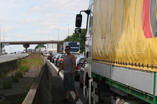 Tailbacks caused by a go-slow protest in France