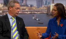 Gina Miller explains a point to Nigel Farage