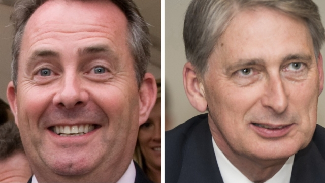 Side by side images of UK ministers Liam Fox and Philip Hammond