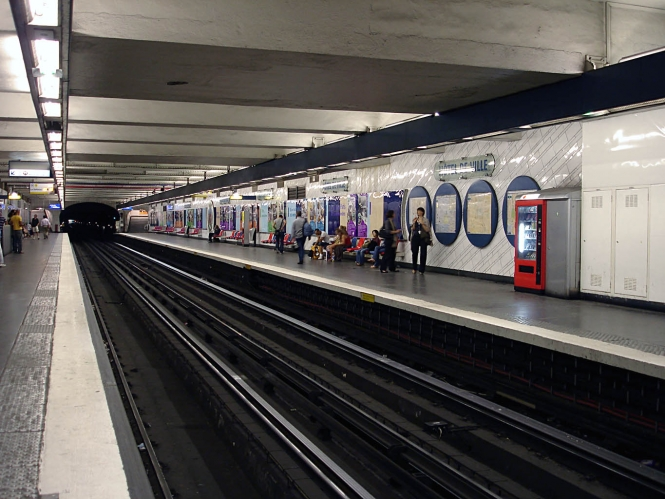 Platform of Paris Metro Station Hotel de Ville